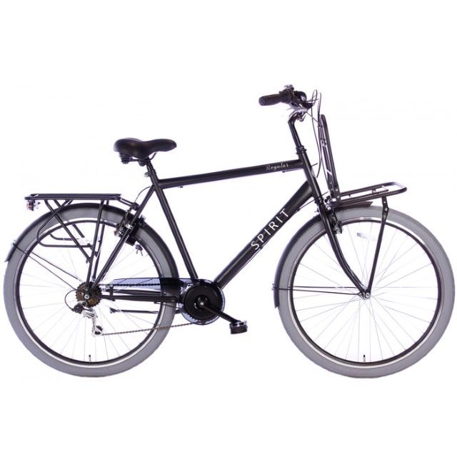 Spirit Regular Plus Man 7 Speed 28 inch 58 cm Mat Zwart