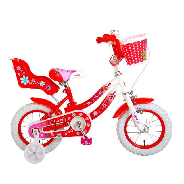 Volare Lovely Kinderfiets Meisjes 12 inch Rood wit