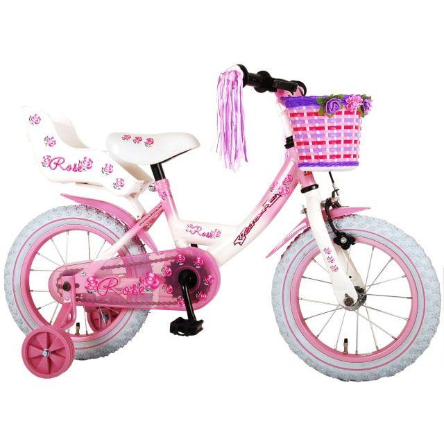 Volare Rose Kinderfiets Meisjes 14 inch Roze Wit