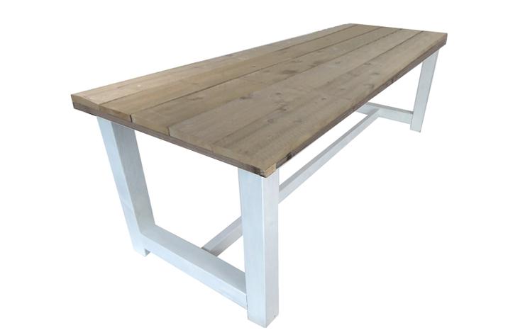 Kloostertafel steigerhout met wit onderstel 180 400 cm for Bouwtekening tafel
