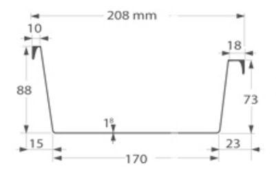 afmetingen Ubbink polyester dakgoot 170mm