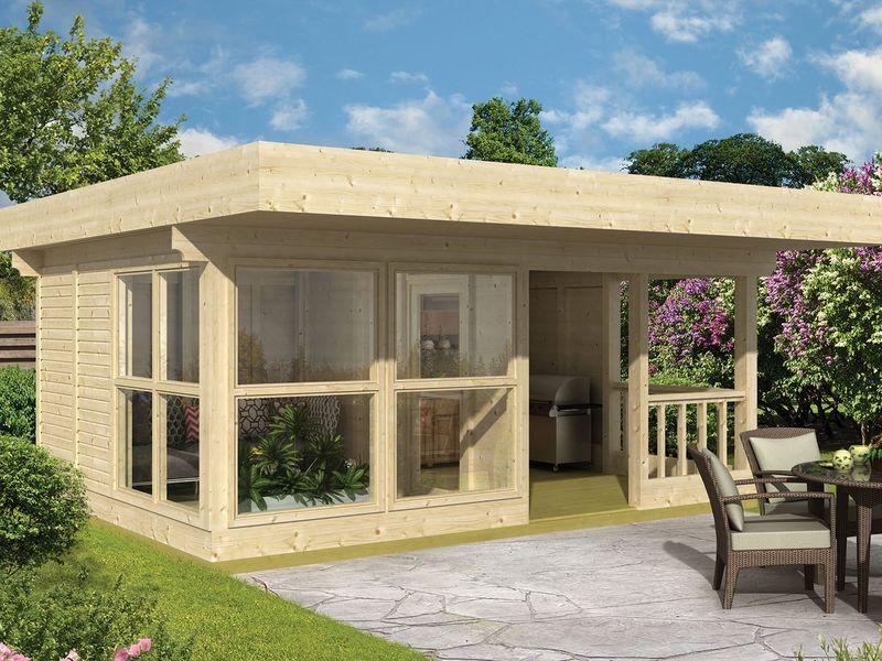 Blokhut kopen prefab houten tuinhuisjes en tuin bergingen for Buitenverblijf met vijver te koop