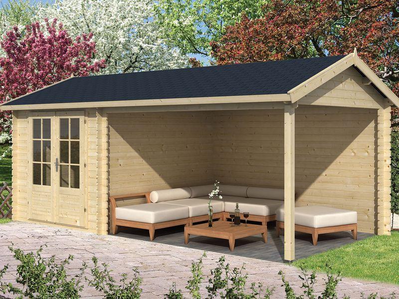 Tuinhuizen Te Koop : Tuinhuisjes kopen houten blokhut tuinhuis met overkapping