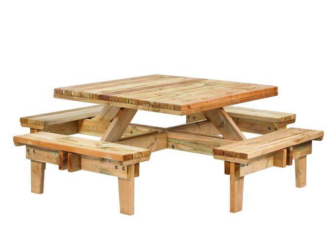 Vierkante Houten Tuintafel 8 Personen.Picknicktafel Vierkant 230 X 230 X 70 Cm Houten Picknick Tafel