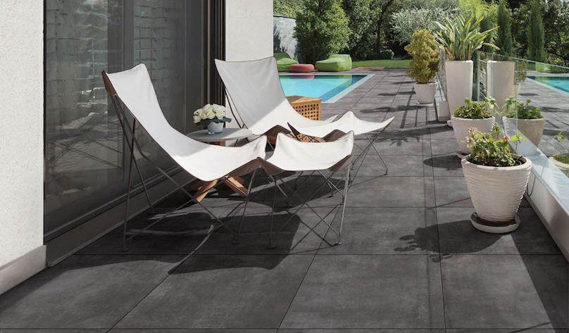 60x60 Tegels Tuin : Geoceramica flow black zwarte tuintegels keramische tegels