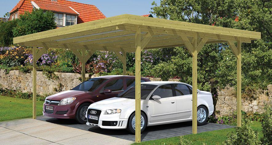 houten carport dubbel 600 x 500 x 260 cm