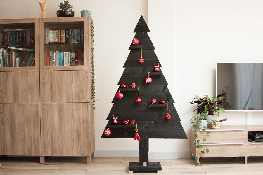 2D steigerhouten kerstboom zwart