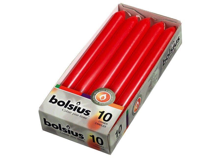 Bolsius dinerkaarsen rood - 10 stuks