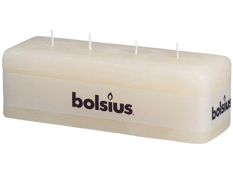 Bolsius multi lontkaars Rustiek met 4 lonten ivoor