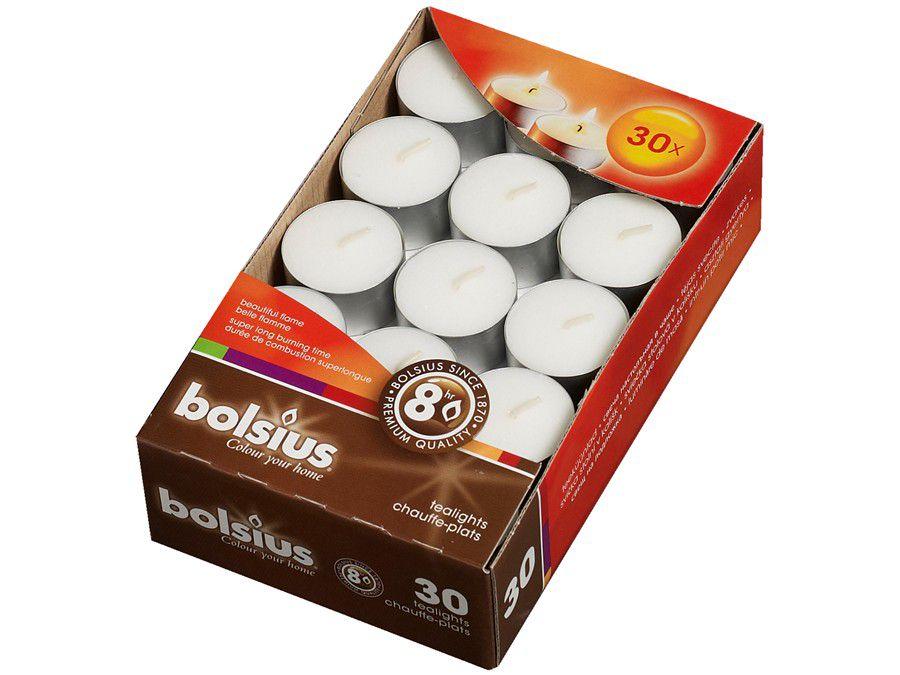 Bolsius theelichten 8 uren wit - 30 stuks