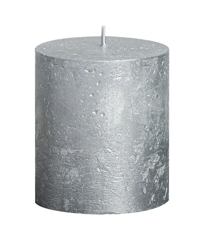 Bolsius stompkaars Metallic zilver 80/68 mm