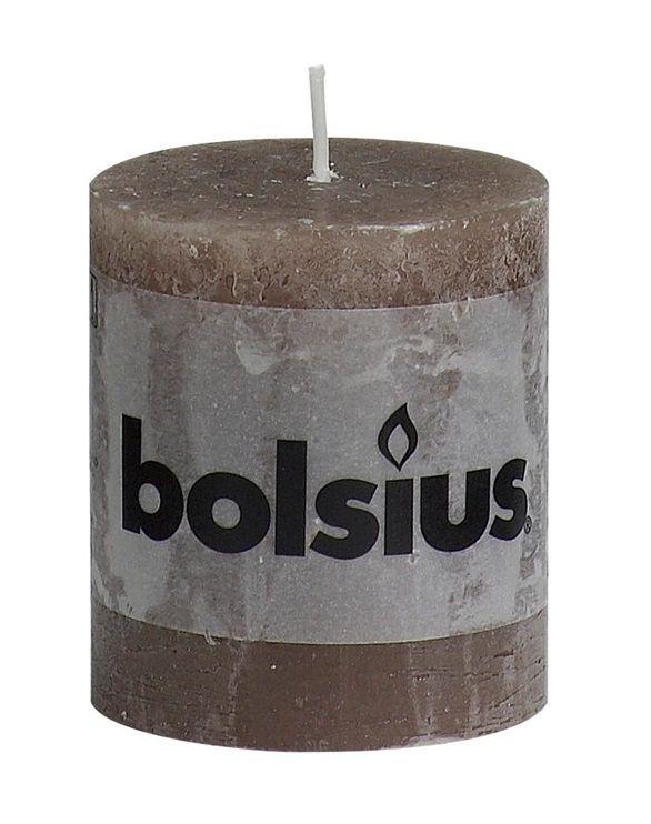 Bolsius stompkaars Rustiek taupe 80/68 mm