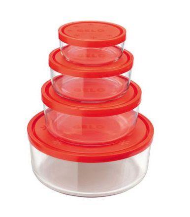 Bormioli vershoudbakjes Frigoverre rood 4 delig