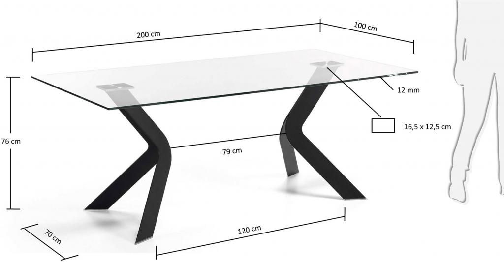 laforma eettafel westport rechthoek 200 x 100 cm zwart. Black Bedroom Furniture Sets. Home Design Ideas