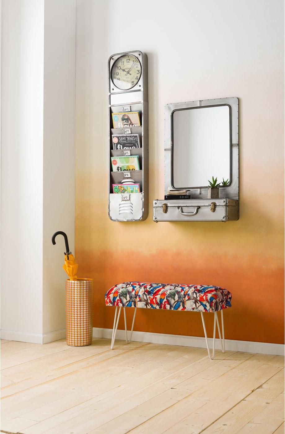 kare design spiegel wandplank suitcase nikkel spiegelglas meubelen. Black Bedroom Furniture Sets. Home Design Ideas