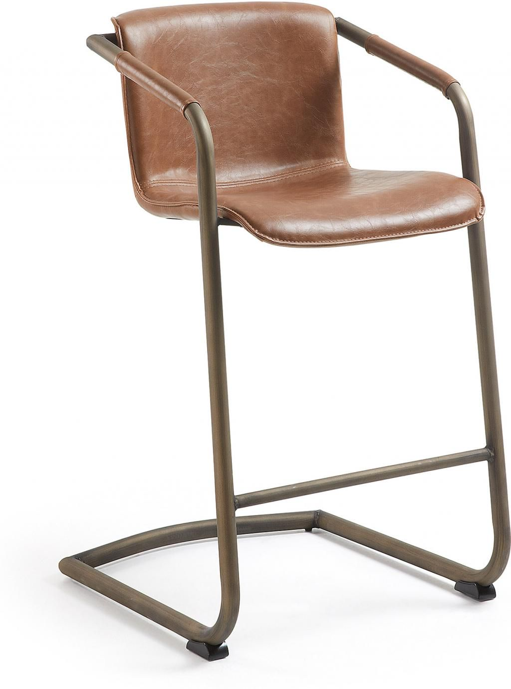 laforma barhocker trion braun pu leder oxidiertes metall h89cm la forma. Black Bedroom Furniture Sets. Home Design Ideas