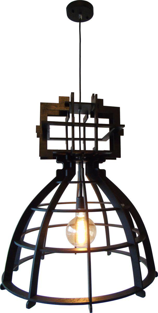 Basiclamp hanglamp Industria - Maxi - Wood - 60 cm - zwart