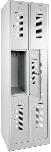 Lockerkast 6-deurs 195 x 60 x 50cm Grijs 33