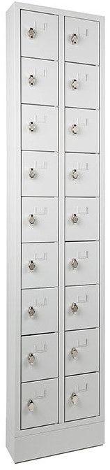 Lockerkast PEL 18-deurs 188 x 42 x 15cm Grijs