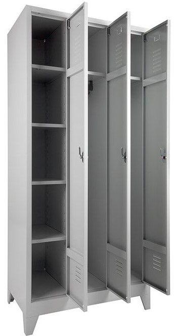 Garderobekast Lockerkast Met Hang en Leg 3 Deurs Nieuw Leverbaar in 2 kleur combinaties1