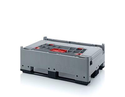 Pallet box opvouwbaar met 3 sledes 120 x 80 x 100 cm 1