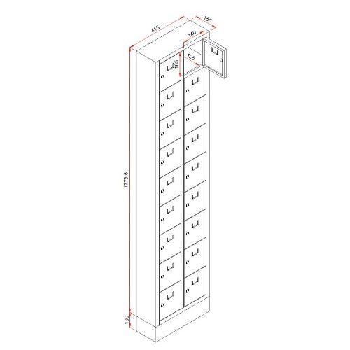 Lockerkast PEL 18-deurs 188 x 42 x 15cm Grijs tekening