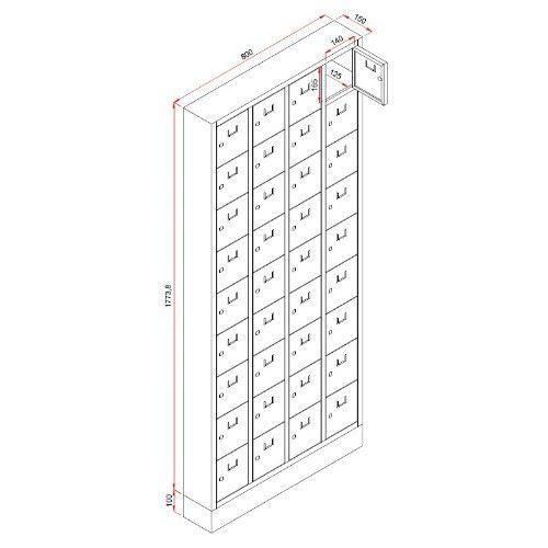 Lockerkast PEL 36-deurs 188 x 80 x 15cm Grijs 3