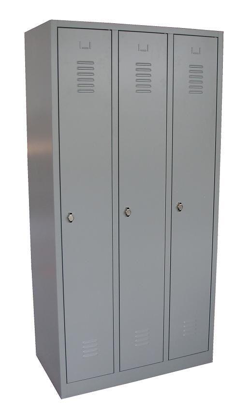 Garderobekast Lockerkast Grijs Met Hang en Leg 3 Deurs Nieuw 33
