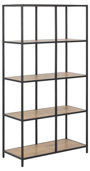 sabro-boekenkast-5-planken-wild-eiken-zwart-frame-1