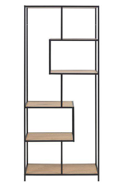 sabro-boekenkast-6-planken-asymetrisch-wild-eiken-zwart-frame-1