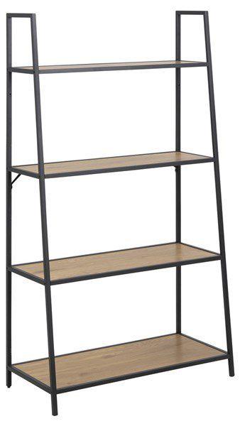 sabro-boekenkast-138cm-schuin-eiken-zwart-frame-1