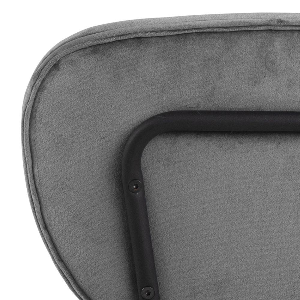 gassum,eetstoel,slank,grijs,velours,stof,zwart,metalen,frame,5