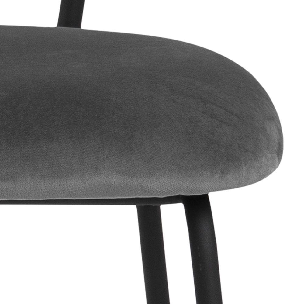 gassum,eetstoel,slank,grijs,velours,stof,zwart,metalen,frame,3