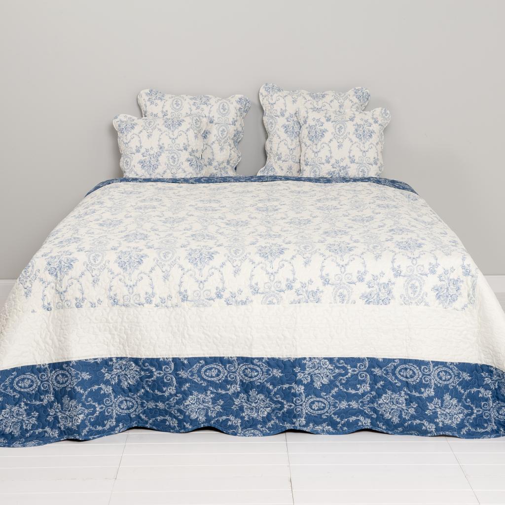 tagesdecke brocante wei blau 140x220 clayre eef kaufen wohn und. Black Bedroom Furniture Sets. Home Design Ideas