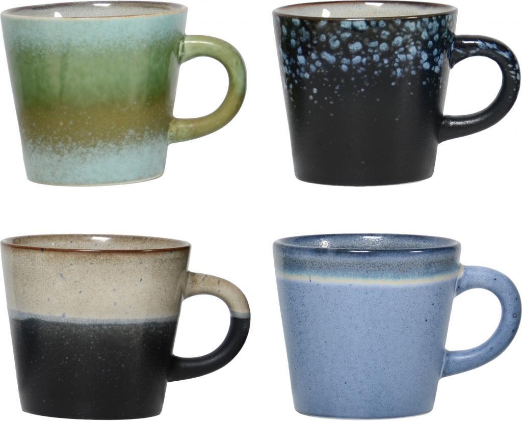 cappuccino tassen 70 39 s keramik 4er set hk living kaufen wohn und. Black Bedroom Furniture Sets. Home Design Ideas