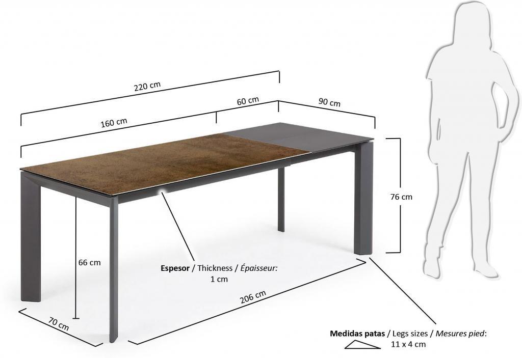 eettafel atta verlengbaar 160 tot 220 cm keramiek iron corten la forma. Black Bedroom Furniture Sets. Home Design Ideas