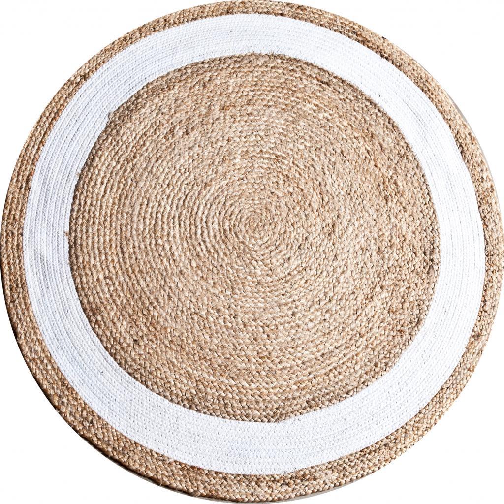 teppich jute rund 120 cm naturell wei by boo kaufen wohn und. Black Bedroom Furniture Sets. Home Design Ideas
