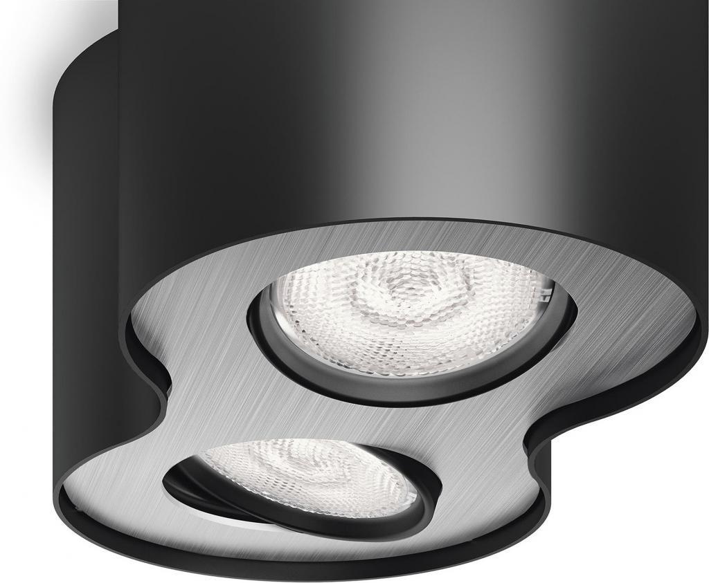 deckenlampe phase schwarz 2x 4 5w metall philips kaufen wohn und. Black Bedroom Furniture Sets. Home Design Ideas