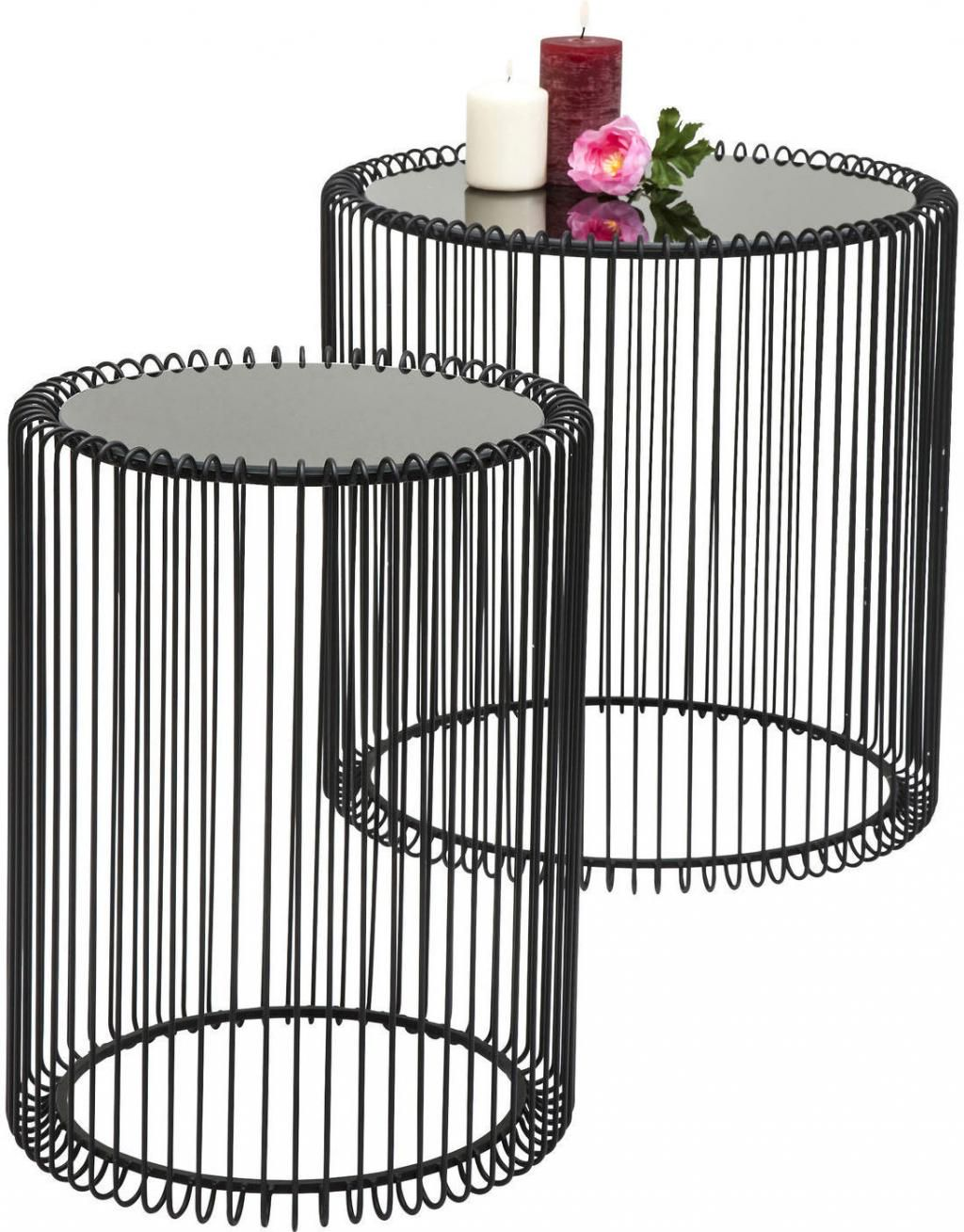 beistelltisch wire black 2 set kare design kaufen. Black Bedroom Furniture Sets. Home Design Ideas