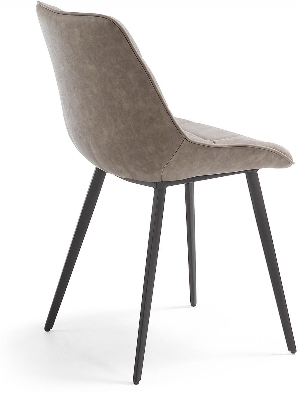 stuhl adah dunkelbraun pu leder metall la forma kaufen wohn und. Black Bedroom Furniture Sets. Home Design Ideas