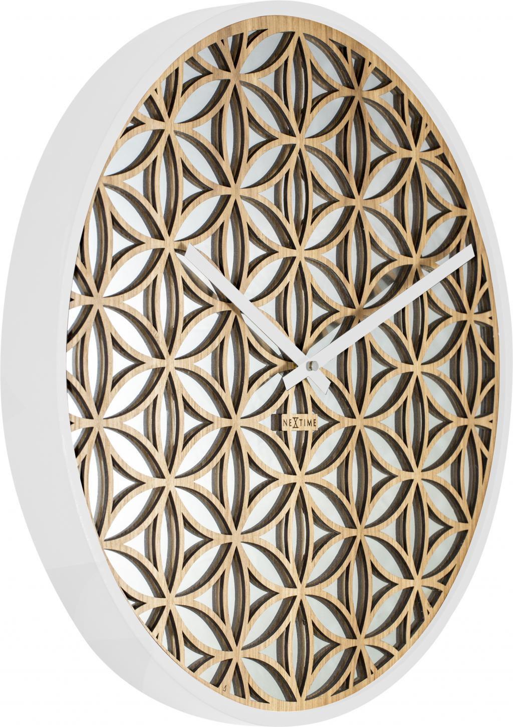 wanduhr bella mirror 50cm holz spiegel wei nextime kaufen wohn und. Black Bedroom Furniture Sets. Home Design Ideas