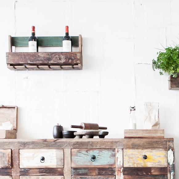 wijnrek factory hangend gerecycled hout 60 cm one world interiors. Black Bedroom Furniture Sets. Home Design Ideas
