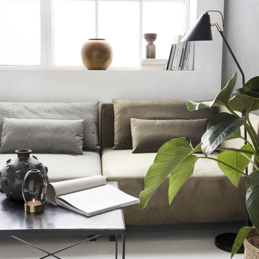 hoekelement box sand met armleuning 2 kussens house doctor. Black Bedroom Furniture Sets. Home Design Ideas