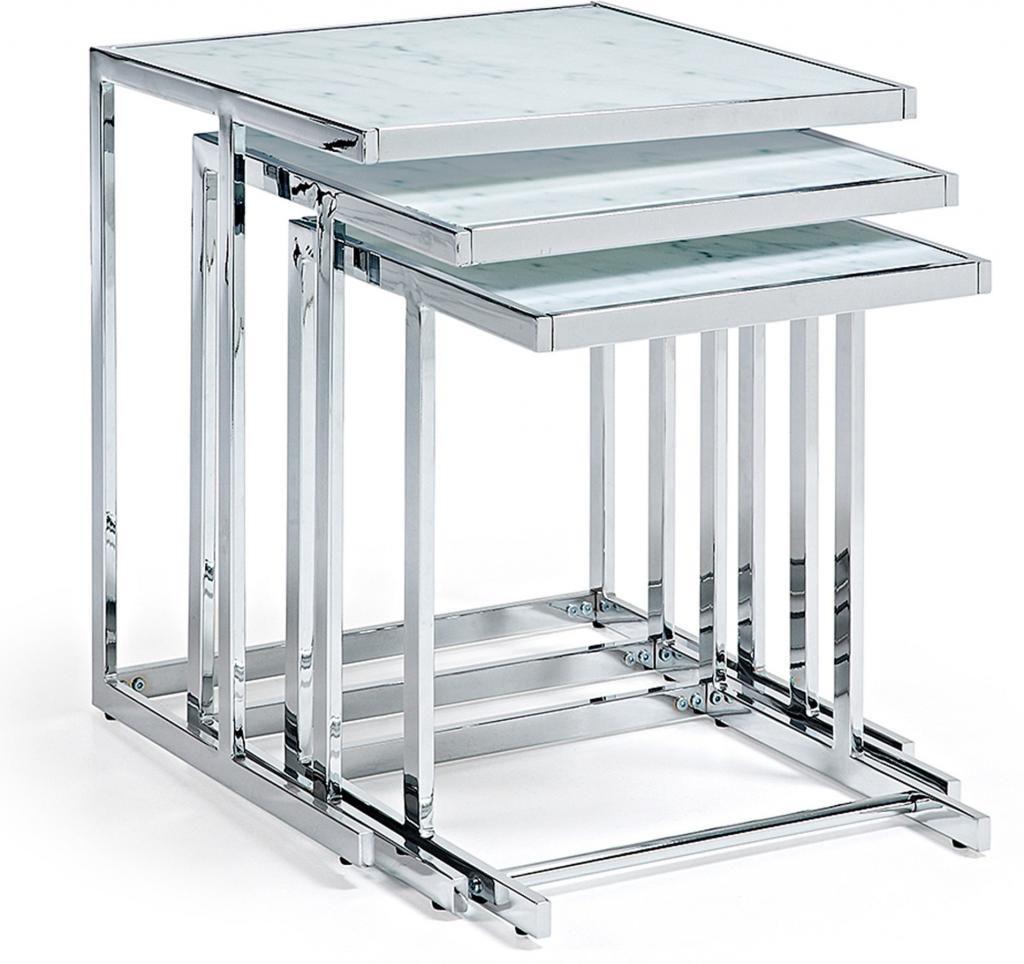 Bijzettafels blair set van 3 metaal glas marmereffect la for Beistelltisch 3er set glas