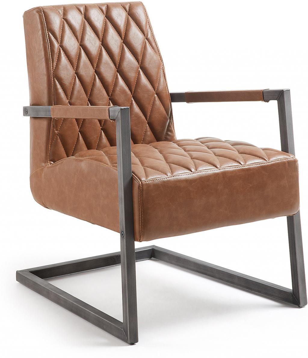 sessel trail cognac braun pu leder metall la forma kaufen wohn und. Black Bedroom Furniture Sets. Home Design Ideas