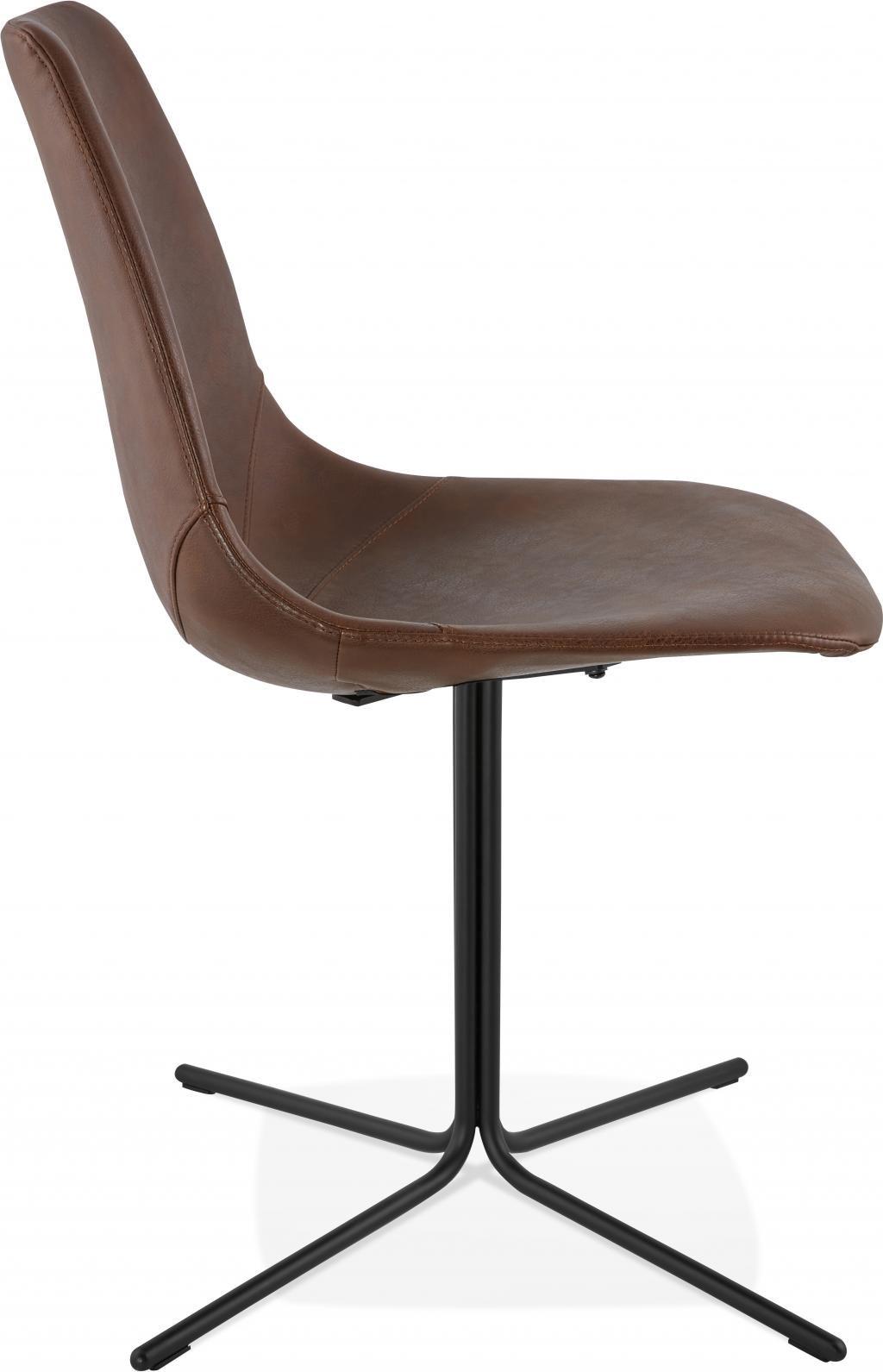 stuhl bedford braun schwarz leder metall kokoon design kaufen. Black Bedroom Furniture Sets. Home Design Ideas