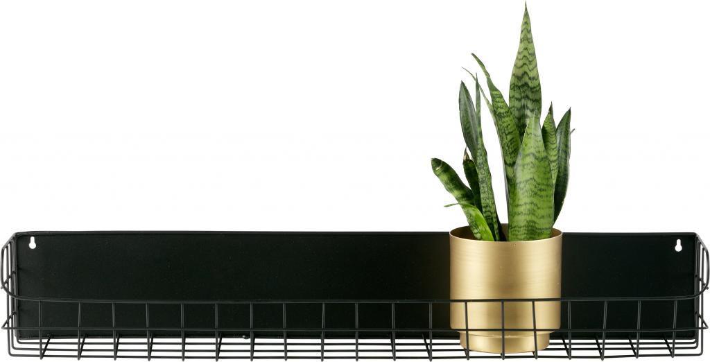 wandregal lucie 80 cm schwarz metall woood kaufen wohn und. Black Bedroom Furniture Sets. Home Design Ideas