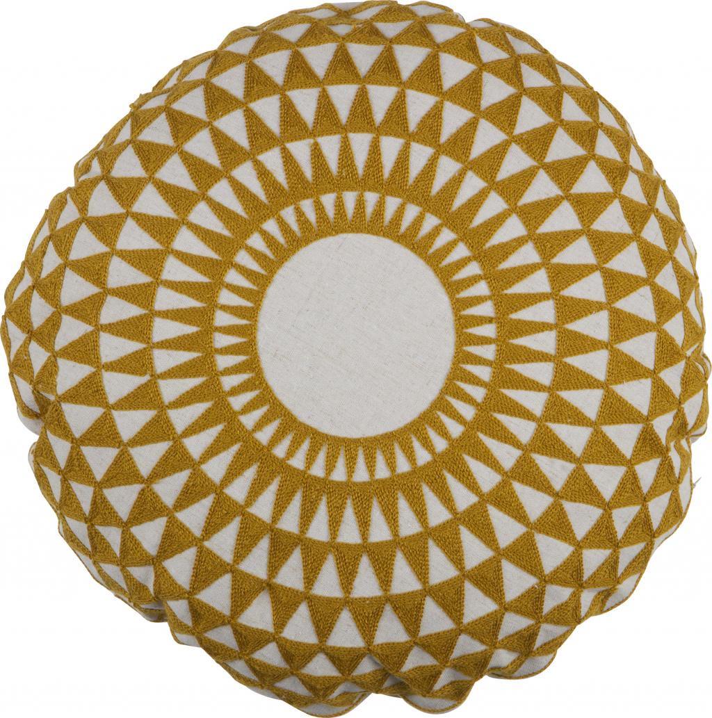 kissen inez gelb rund 45 cm woood kaufen wohn und lifestylewebshop. Black Bedroom Furniture Sets. Home Design Ideas