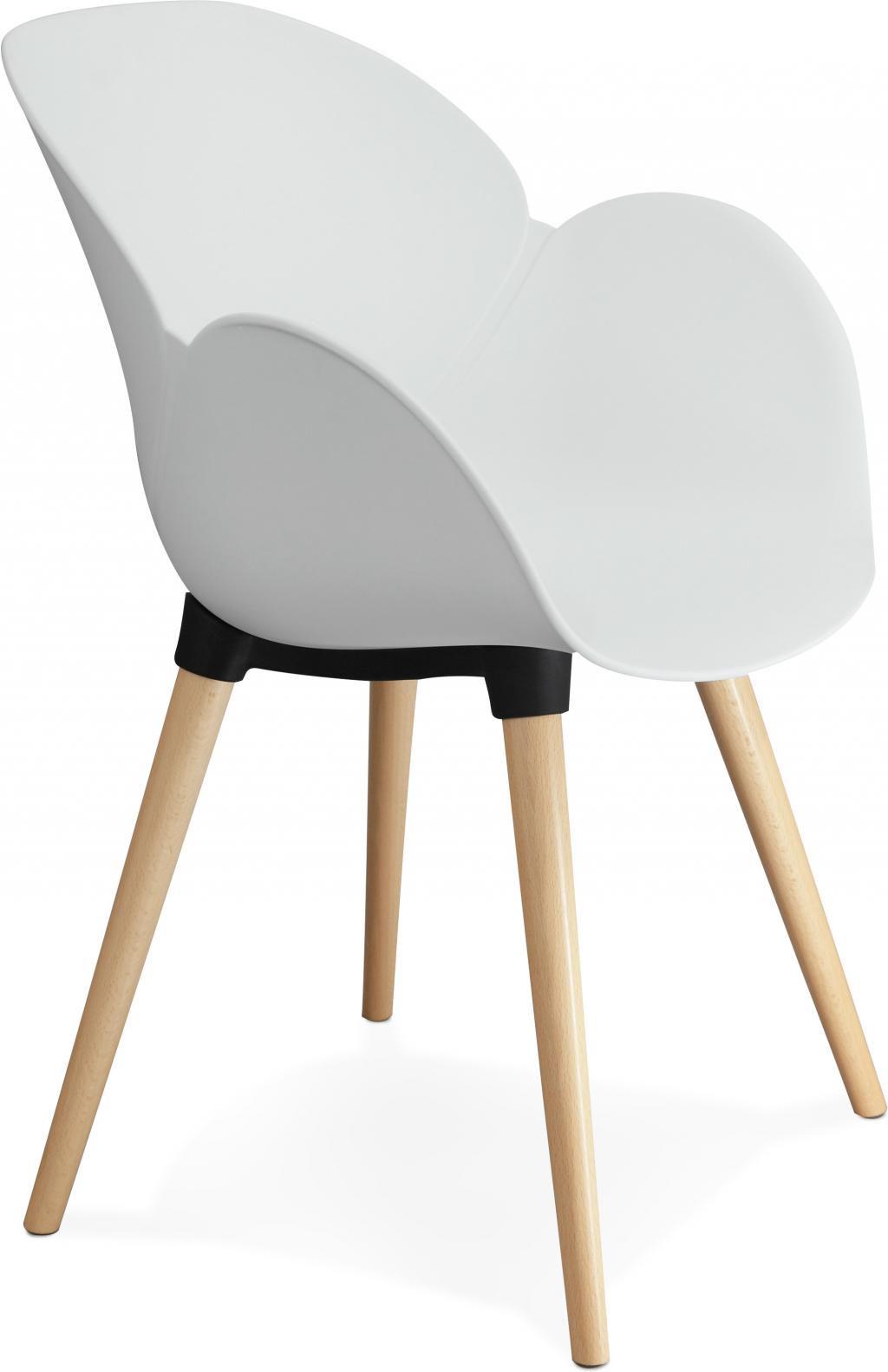 Stoel sitwel wit kunststof beukenhout kokoon design for Design stoel wit