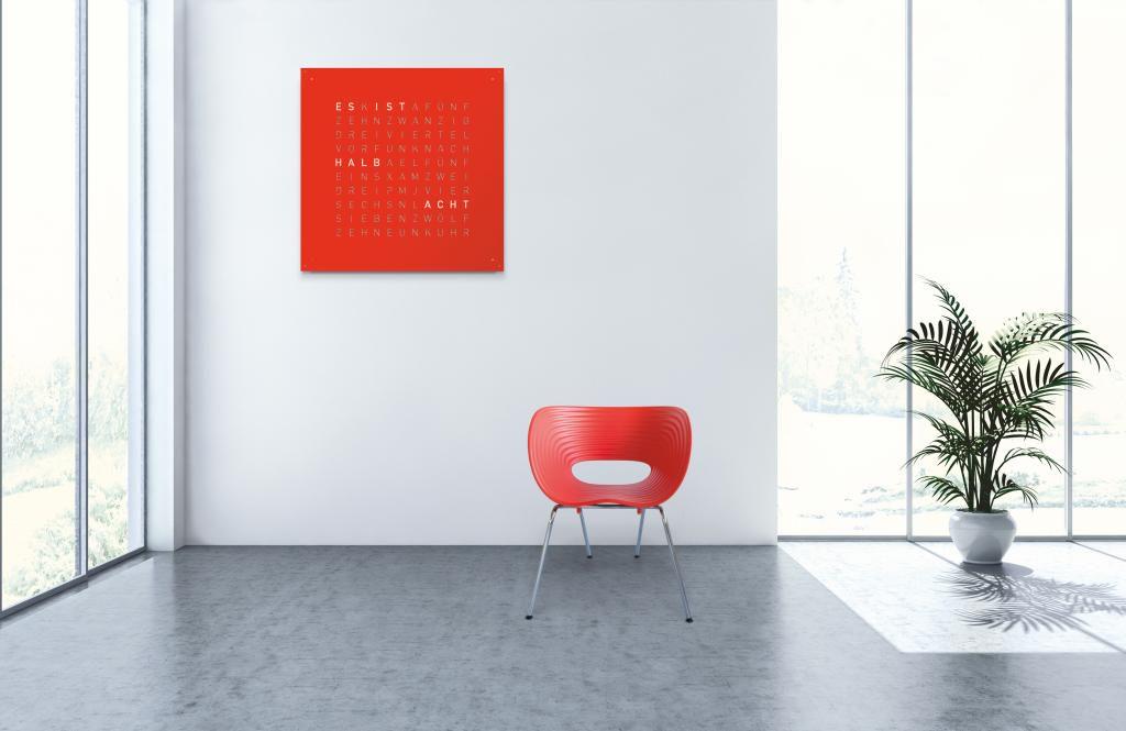 biegert funk wandklok qlocktwo large red pepper de 90x90x3 5. Black Bedroom Furniture Sets. Home Design Ideas